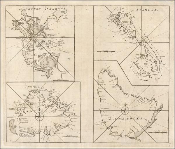 86-Massachusetts, Caribbean and Bermuda Map By John Senex / Edmund Halley / Nathaniel Cutler / Sam