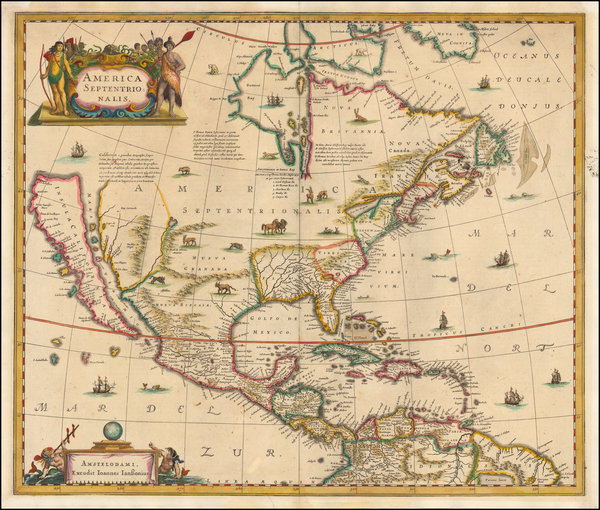 35-North America and California as an Island Map By Henricus Hondius / Jan Jansson