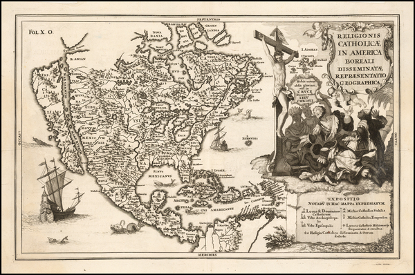 68-North America and California as an Island Map By Heinrich Scherer