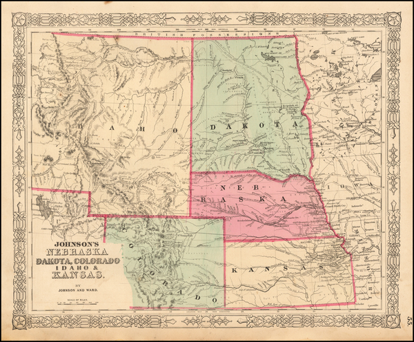 96-Plains, North Dakota, Southwest, Rocky Mountains, Idaho and Montana Map By Benjamin P Ward  &am