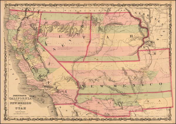 39-Southwest, Arizona, Utah, Nevada, New Mexico, Rocky Mountains, Utah and California Map By Alvin