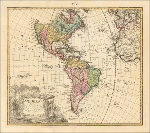 0-America Map By Homann Heirs / Johann Matthaus Haas