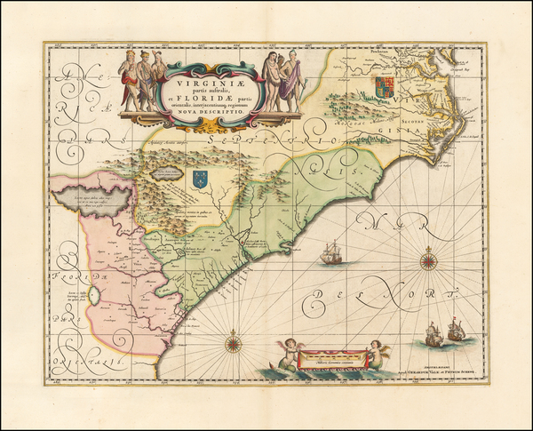 Southeast, Virginia, North Carolina and South Carolina Map By Peter Schenk  &  Gerard Valk