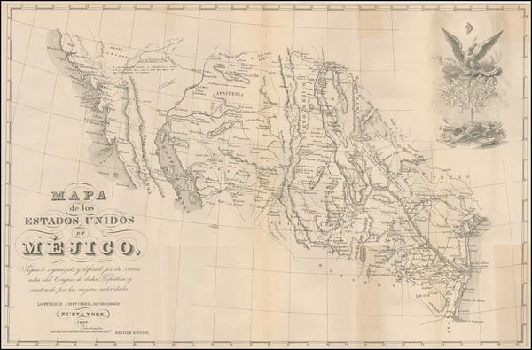 85-Texas, Arizona, New Mexico, Mexico and California Map By