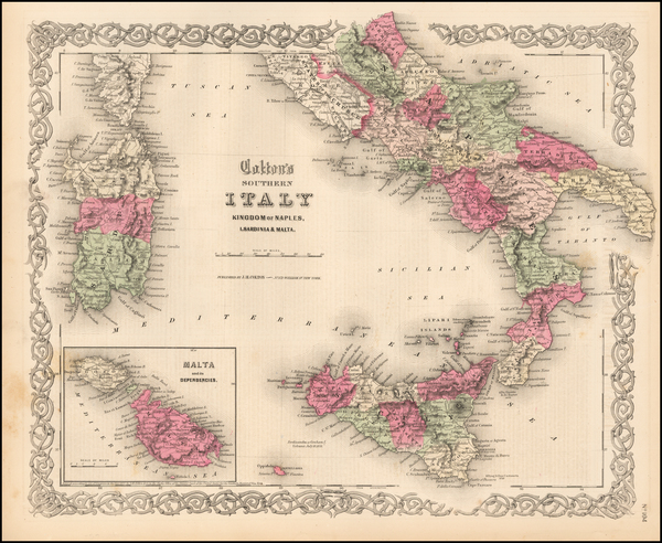 25-Italy, Southern Italy and Mediterranean Map By Joseph Hutchins Colton