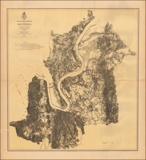 Tennessee Map By U.S. Army Corps of Topographical Engineer