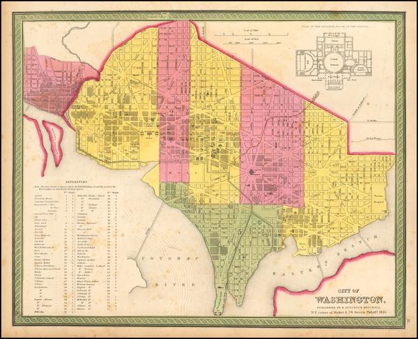 14-Washington, D.C. Map By Samuel Augustus Mitchell