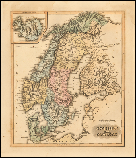 90-Scandinavia, Iceland, Sweden and Norway Map By Fielding Lucas Jr.