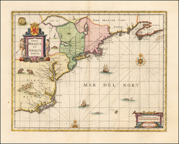 40-New England, Mid-Atlantic and Southeast Map By Peter Schenk  &  Gerard Valk
