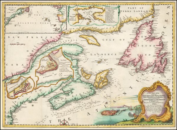 36-New England, Canada and Eastern Canada Map By Gentleman's Magazine