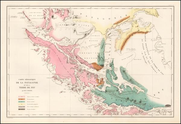 14-Argentina and Chile Map By Jules Sebastian Cesar Dumont-D'Urville