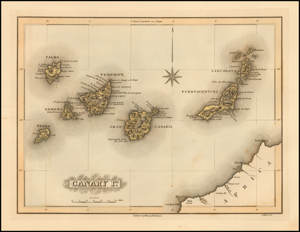 73-Atlantic Ocean and African Islands, including Madagascar Map By Fielding Lucas Jr.
