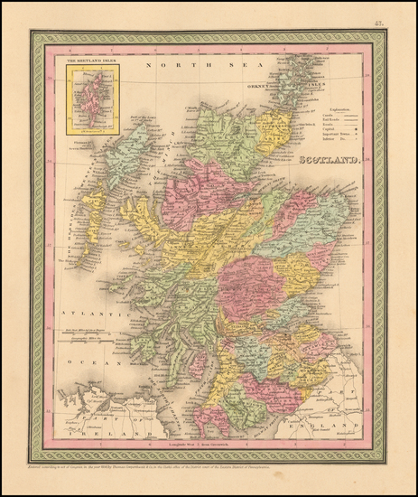 50-British Isles Map By Thomas, Cowperthwait & Co.