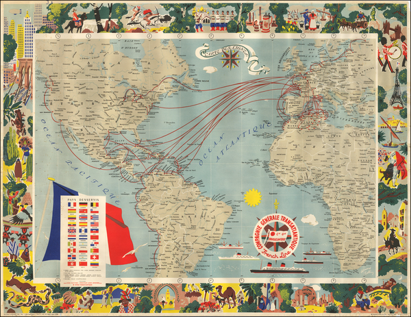 70-Atlantic Ocean, North America, South America, South America and Pictorial Maps Map By E. Collin