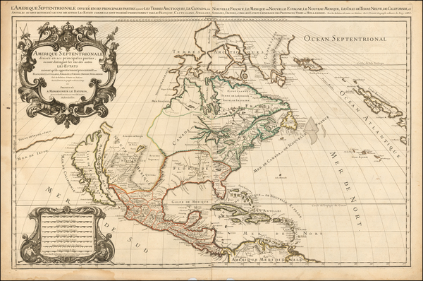 60-North America and California Map By Alexis-Hubert Jaillot