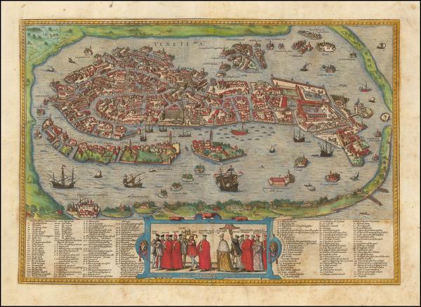 8-Venice Map By Georg Braun  &  Frans Hogenberg