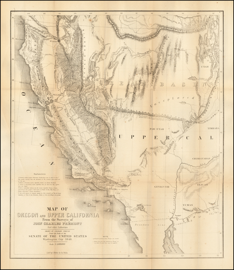 59-Southwest, Arizona, Utah, Nevada, Utah and California Map By John Charles Fremont / Charles Pre
