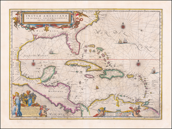 Florida, South, Southeast, Caribbean and Central America Map By Willem Janszoon Blaeu