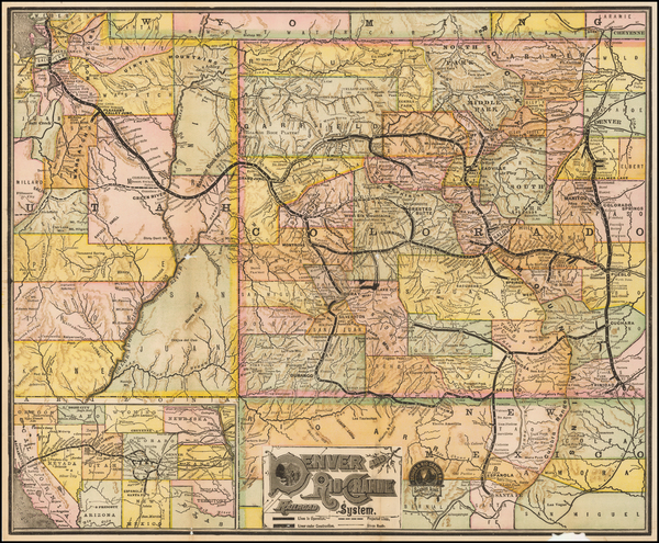 4-Colorado, Utah, Colorado and Utah Map By American Bank Note Company