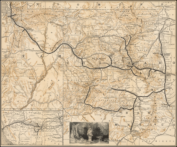 37-Colorado, Utah, Colorado and Utah Map By Denver & Rio Grande RR