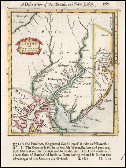 62-Mid-Atlantic, New Jersey and Pennsylvania Map By Robert Morden