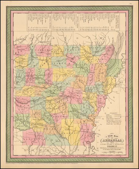 0-Arkansas Map By Thomas, Cowperthwait & Co.
