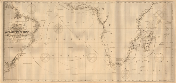 32-Atlantic Ocean, Brazil and South Africa Map By John William Norie