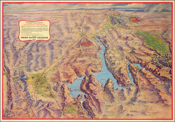 Arizona, Nevada and Pictorial Maps Map By Union Pacific Railroad Company