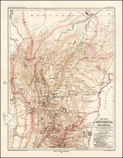 38-Colombia Map By Augustus Herman Petermann