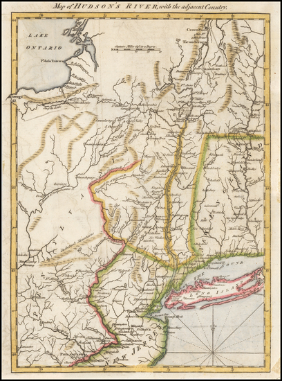 62-New England, Connecticut, Vermont, New York State, New Jersey and Pennsylvania Map By Gentleman