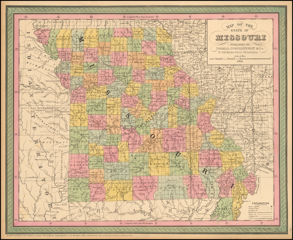 17-Missouri Map By Thomas, Cowperthwait & Co.