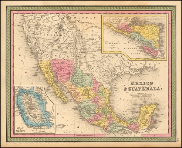 13-Texas, Southwest, Mexico and California Map By Thomas, Cowperthwait & Co.