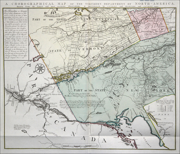 72-New England, Massachusetts, New Hampshire, Vermont and New York State Map By Bernard Romans