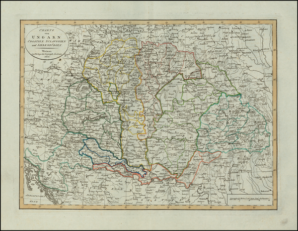 Hungary, Balkans and Croatia Map By Weimar Geographische Institut