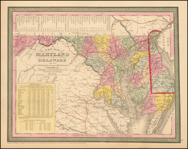 87-Maryland and Delaware Map By Thomas, Cowperthwait & Co.