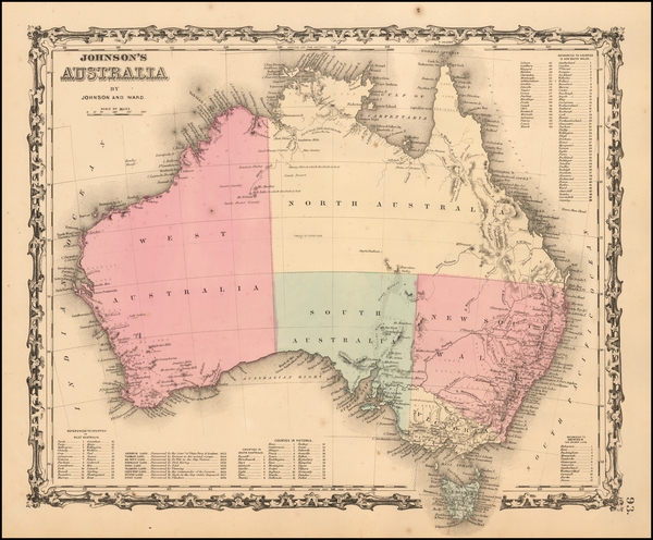 89-Australia Map By Benjamin P Ward  &  Alvin Jewett Johnson