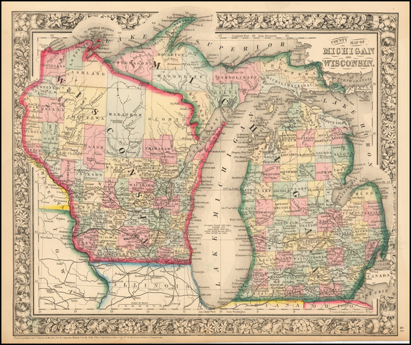 40-Midwest, Michigan and Wisconsin Map By Samuel Augustus Mitchell