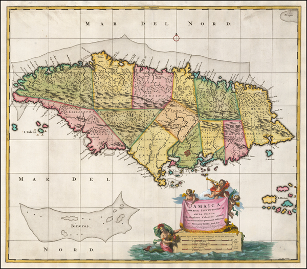 32-Jamaica Map By Nicolaes Visscher I