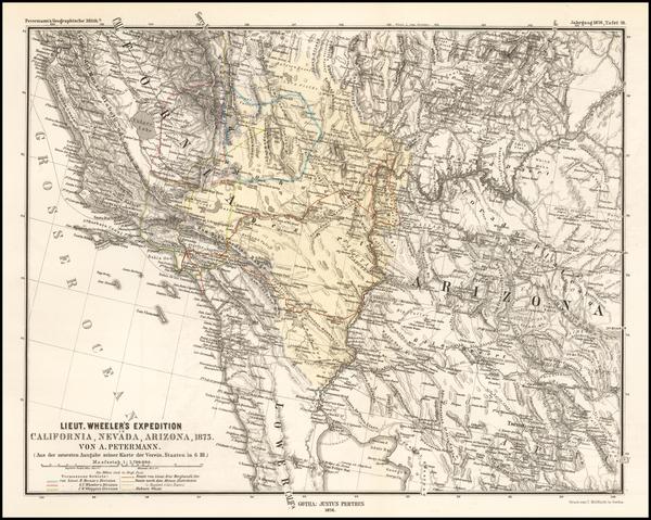 13-Arizona and California Map By Augustus Herman Petermann