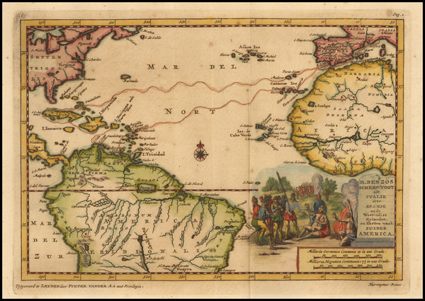85-Atlantic Ocean, Caribbean and South America Map By Pieter van der Aa