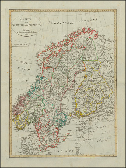 36-Scandinavia, Sweden, Norway and Finland Map By Weimar Geographische Institut