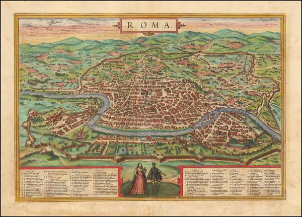 91-Rome Map By Georg Braun  &  Frans Hogenberg
