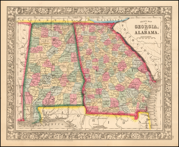 28-Alabama and Georgia Map By Samuel Augustus Mitchell Jr.