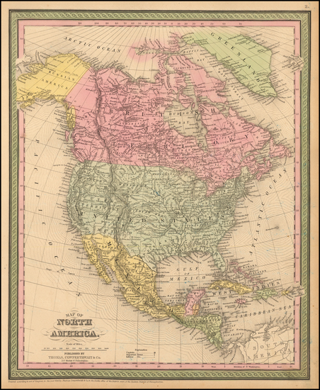 20-North America Map By Thomas, Cowperthwait & Co.