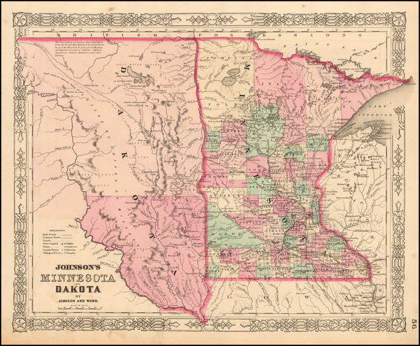 69-Minnesota, North Dakota and South Dakota Map By Benjamin P Ward  &  Alvin Jewett Johnson