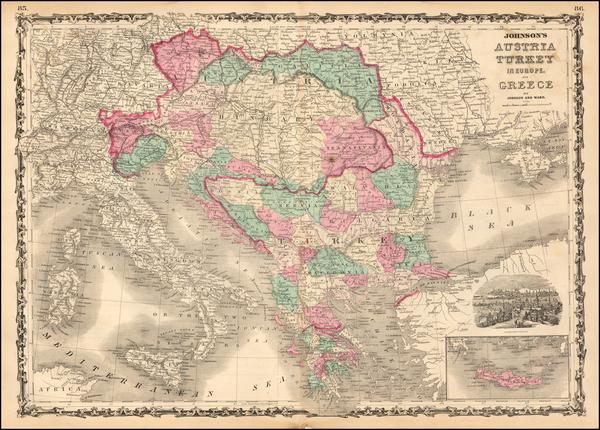 87-Hungary, Balkans, Greece and Turkey Map By Alvin Jewett Johnson  &  Benjamin P Ward