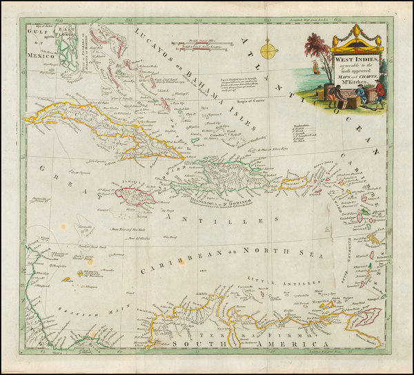 28-Florida and Caribbean Map By Thomas Conder