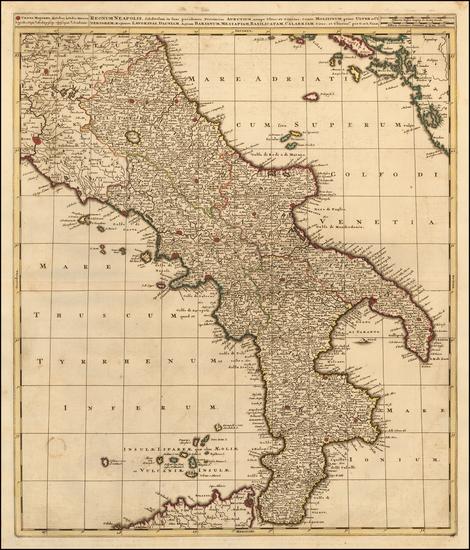 75-Southern Italy Map By Gerard & Leonard Valk