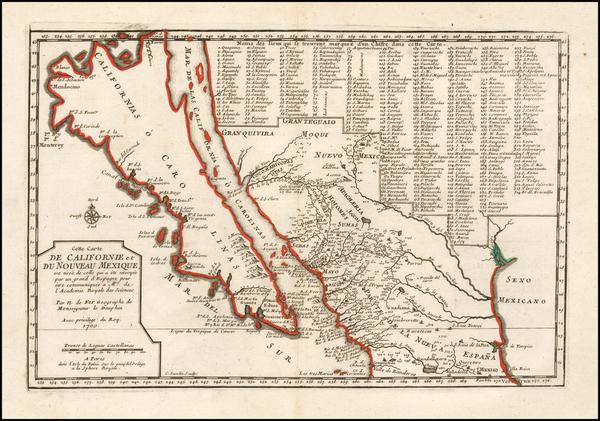 69-Baja California, California and California as an Island Map By Nicolas de Fer