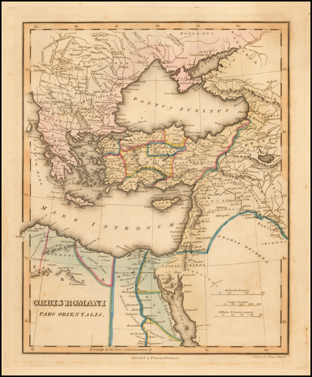 70-Greece, Turkey, Middle East and Turkey & Asia Minor Map By Fielding Lucas Jr.